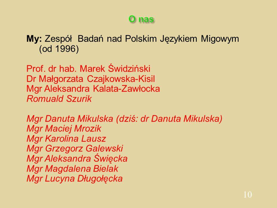 10 O nas My: Zespół Badań nad Polskim Językiem Migowym (od 1996) Prof. dr hab. Marek Świdziński Dr Małgorzata Czajkowska-Kisil Mgr Aleksandra Kalata-Z