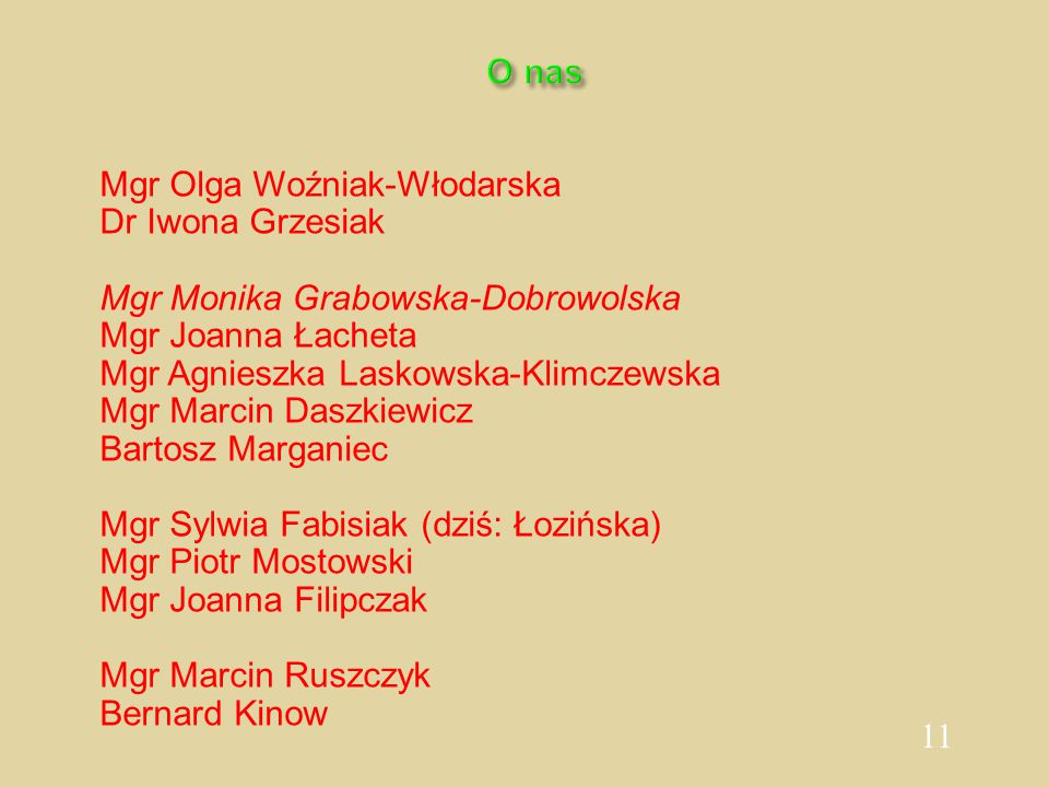 11 O nas Mgr Olga Woźniak-Włodarska Dr Iwona Grzesiak Mgr Monika Grabowska-Dobrowolska Mgr Joanna Łacheta Mgr Agnieszka Laskowska-Klimczewska Mgr Marc