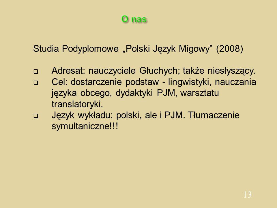 """13 O nas Studia Podyplomowe """"Polski Język Migowy"""" (2008)  Adresat: nauczyciele Głuchych; także niesłyszący.  Cel: dostarczenie podstaw - lingwistyki"""