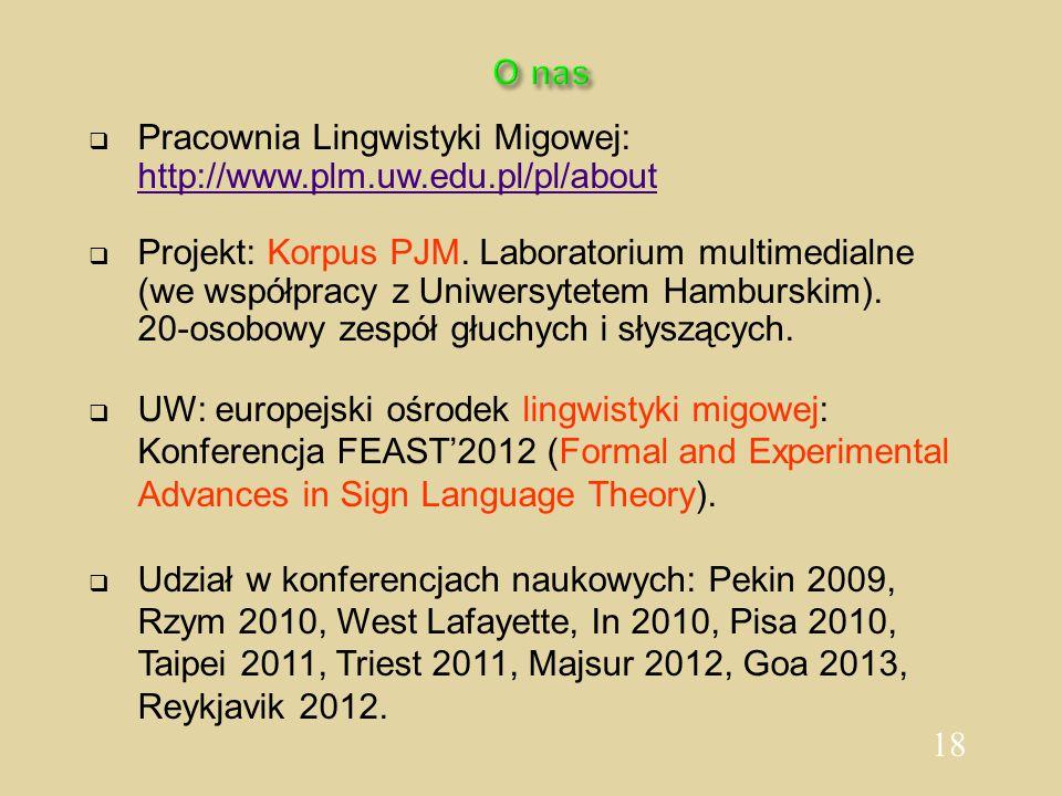 18 O nas  Pracownia Lingwistyki Migowej: http://www.plm.uw.edu.pl/pl/about  Projekt: Korpus PJM. Laboratorium multimedialne (we współpracy z Uniwers