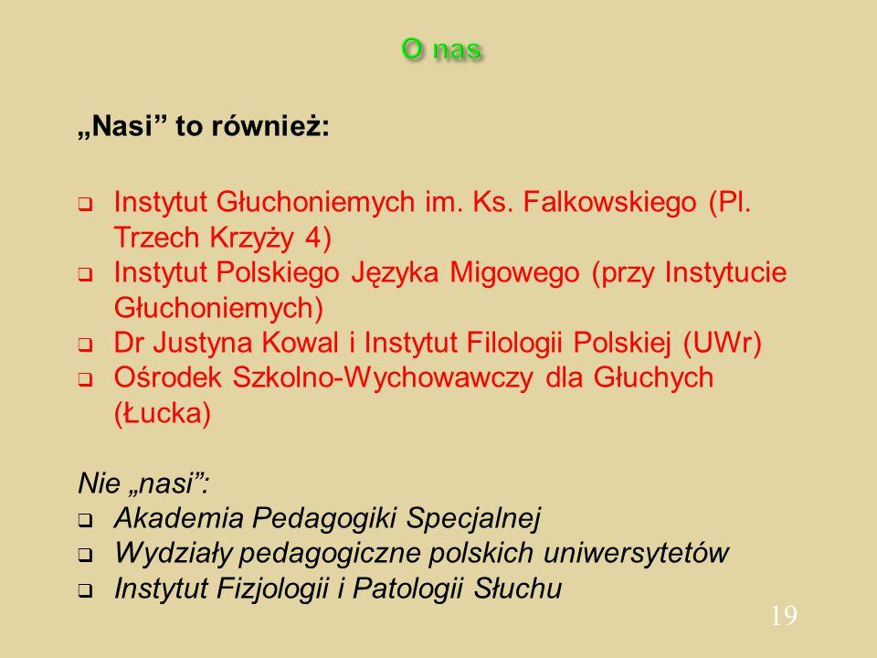 """19 O nas """"Nasi"""" to również:  Instytut Głuchoniemych im. Ks. Falkowskiego (Pl. Trzech Krzyży 4)  Instytut Polskiego Języka Migowego (przy Instytucie"""