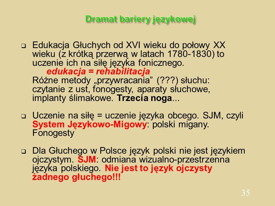 35 Dramat bariery językowej  Edukacja Głuchych od XVI wieku do połowy XX wieku (z krótką przerwą w latach 1780-1830) to uczenie ich na siłę języka fo