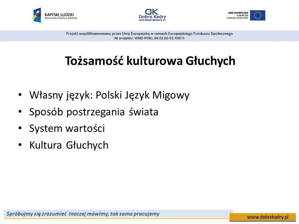 Spróbujmy się zrozumieć Inaczej mówimy, tak samo pracujemy Tożsamość kulturowa Głuchych Własny język: Polski Język Migowy Sposób postrzegania świata S