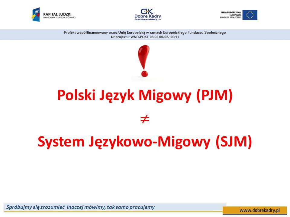 Spróbujmy się zrozumieć Inaczej mówimy, tak samo pracujemy Polski Język Migowy (PJM)  System Językowo-Migowy (SJM)