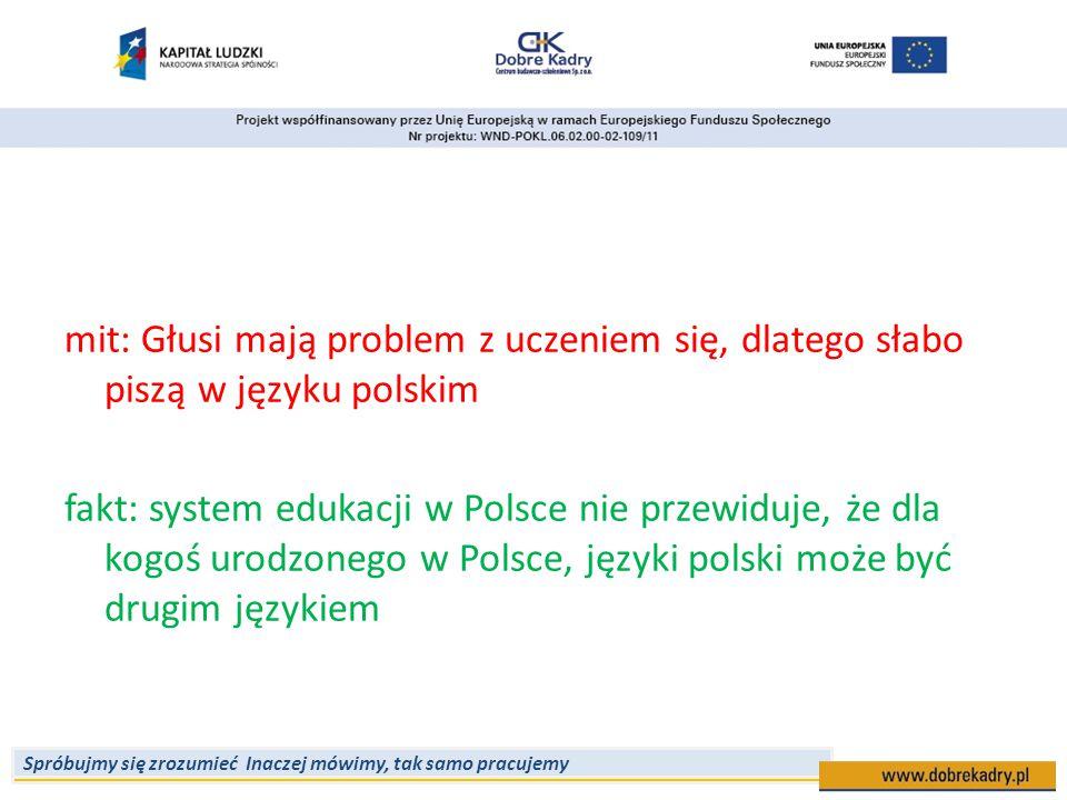Spróbujmy się zrozumieć Inaczej mówimy, tak samo pracujemy mit: Głusi mają problem z uczeniem się, dlatego słabo piszą w języku polskim fakt: system e