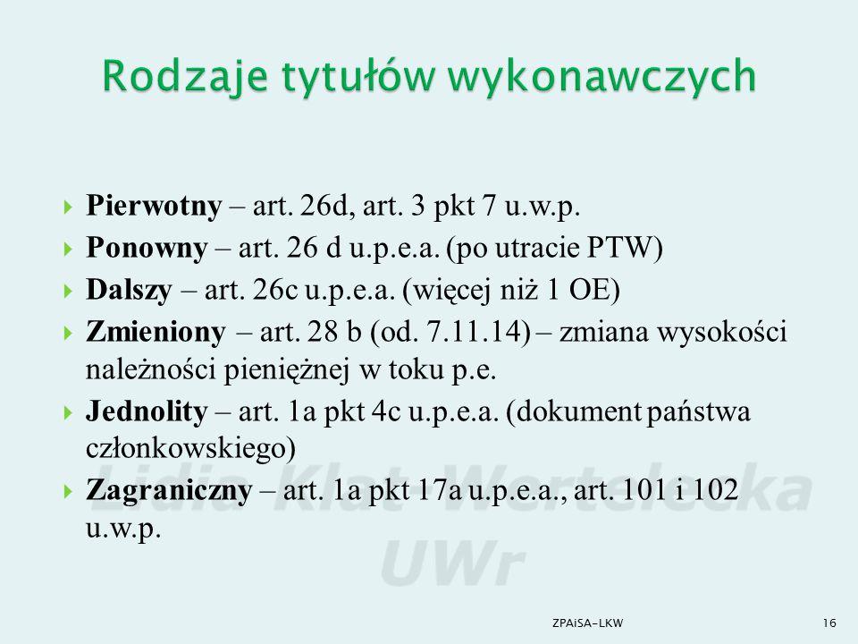  Pierwotny – art. 26d, art. 3 pkt 7 u.w.p.  Ponowny – art. 26 d u.p.e.a. (po utracie PTW)  Dalszy – art. 26c u.p.e.a. (więcej niż 1 OE)  Zmieniony