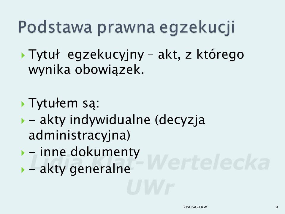  1) wierzyciel (niebędący OE lub będący OE)  2) organ egzekucyjny  3) zobowiązany  Podmioty na prawach strony:  organizacja społeczna  Prokurator  Rzecznik Praw Obywatelskich 10ZPAiSA-LKW