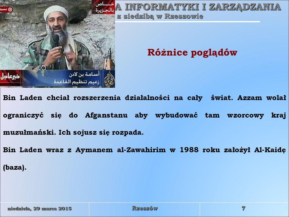 WYŻSZA SZKOŁA INFORMATYKI I ZARZĄDZANIA z siedzibą w Rzeszowie 18 niedziela, 29 marca 2015niedziela, 29 marca 2015niedziela, 29 marca 2015niedziela, 29 marca 2015 Rzeszów  lata 80-te – uczestnik wojny z sowieckim okupantem w Afganistanie (do 1989 roku)  1999 podejrzewa się go o udział w zamachu na hotel Radisson w Ammanie; rzekomo trafia do niemieckiej komórki al Kaidy  2000 - skazany na 15 lat w zawieszeniu za przygotowywanie zamachów; wraca do Afganistanu  2001 - ranny w wybuchu amerykańskiego pocisku w Heracie, przedostaje się do Iraku  10.2002 - podejrzewany o udział w zabójstwie amerykańskiego dyplomaty Laurence a Foley a  2003 - jordański sąd wojskowy skazuje Zarkawiego na karę śmierci w zawieszeniu  08.2003 - oskarżony o kierowanie bombardowaniem central ONZ w Bagdadzie (giną 22 osoby) i meczetu Alego w Nadżafie (105 ofiar)