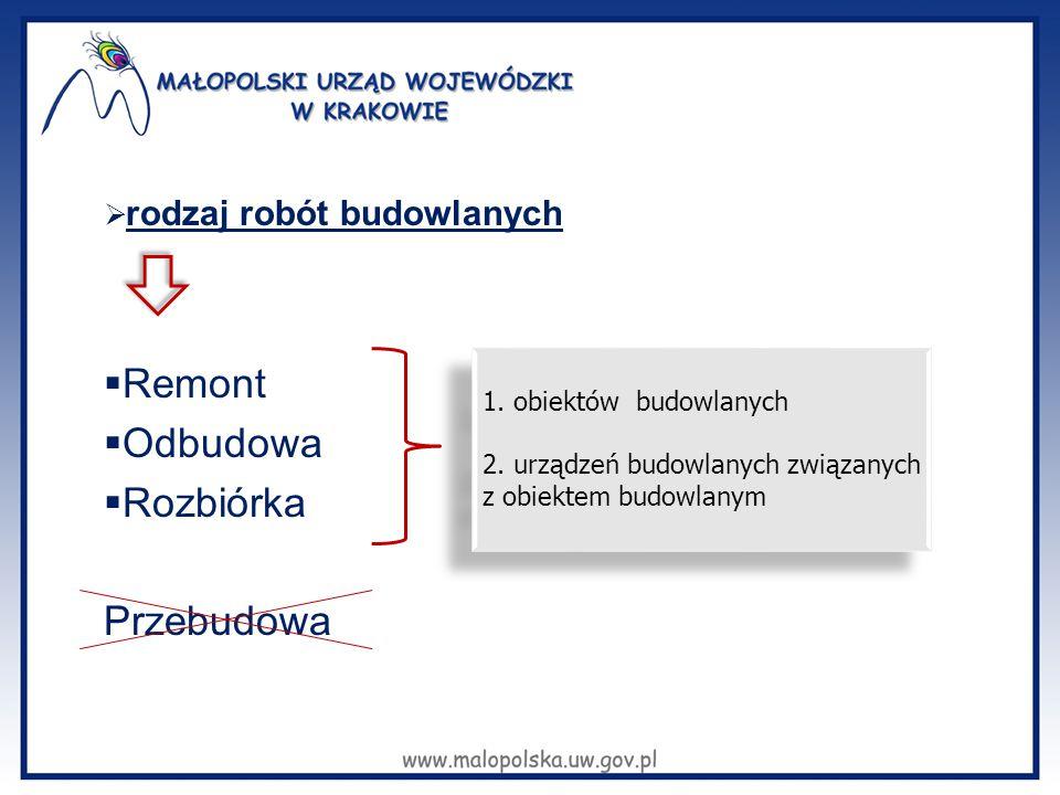  Remont  Odbudowa  Rozbiórka Przebudowa 1. obiektów budowlanych 2. urządzeń budowlanych związanych z obiektem budowlanym 1. obiektów budowlanych 2.