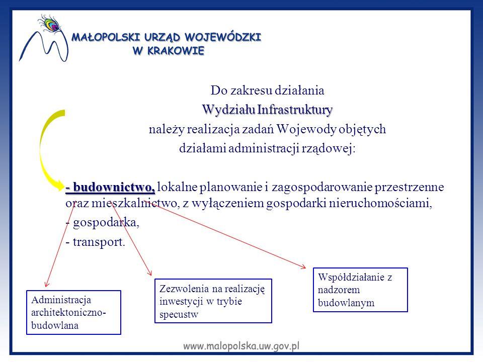 Do zakresu działania Wydziału Infrastruktury należy realizacja zadań Wojewody objętych działami administracji rządowej: - budownictwo, - budownictwo,