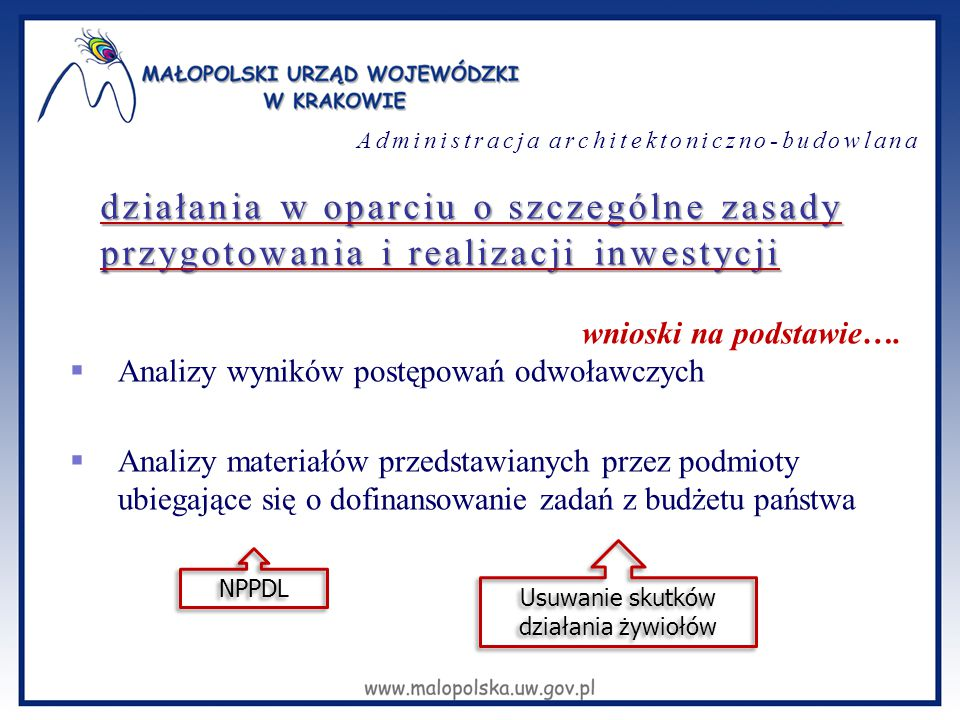 działania w oparciu o szczególne zasady przygotowania i realizacji inwestycji wnioski na podstawie….  Analizy wyników postępowań odwoławczych  Anali