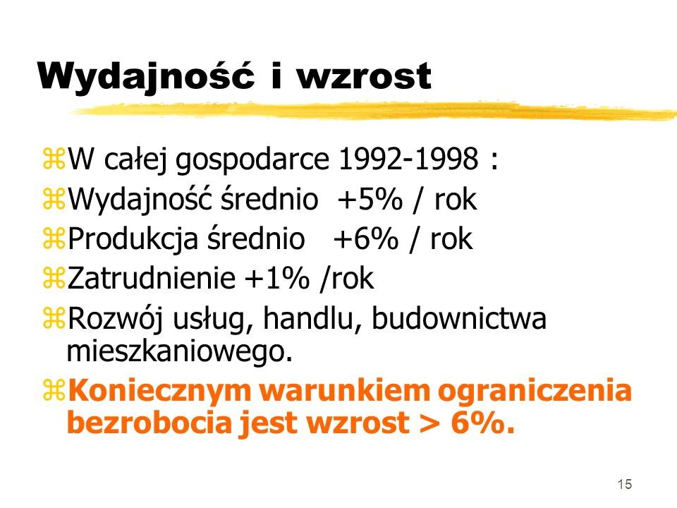 15 Wydajność i wzrost zW całej gospodarce 1992-1998 : zWydajność średnio +5% / rok zProdukcja średnio +6% / rok zZatrudnienie +1% /rok zRozwój usług, handlu, budownictwa mieszkaniowego.