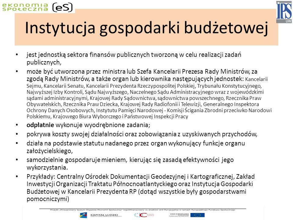 Instytucja gospodarki budżetowej jest jednostką sektora finansów publicznych tworzoną w celu realizacji zadań publicznych, może być utworzona przez ministra lub Szefa Kancelarii Prezesa Rady Ministrów, za zgodą Rady Ministrów, a także organ lub kierownika następujących jednostek: Kancelarii Sejmu, Kancelarii Senatu, Kancelarii Prezydenta Rzeczypospolitej Polskiej, Trybunału Konstytucyjnego, Najwyższej Izby Kontroli, Sądu Najwyższego, Naczelnego Sądu Administracyjnego wraz z wojewódzkimi sądami administracyjnymi, Krajowej Rady Sądownictwa, sądownictwa powszechnego, Rzecznika Praw Obywatelskich, Rzecznika Praw Dziecka, Krajowej Rady Radiofonii i Telewizji, Generalnego Inspektora Ochrony Danych Osobowych, Instytutu Pamięci Narodowej - Komisji Ścigania Zbrodni przeciwko Narodowi Polskiemu, Krajowego Biura Wyborczego i Państwowej Inspekcji Pracy odpłatnie wykonuje wyodrębnione zadania; pokrywa koszty swojej działalności oraz zobowiązania z uzyskiwanych przychodów, działa na podstawie statutu nadanego przez organ wykonujący funkcje organu założycielskiego, samodzielnie gospodaruje mieniem, kierując się zasadą efektywności jego wykorzystania.