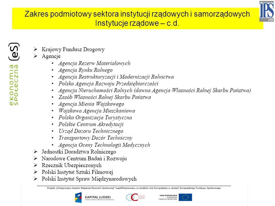 Zakres podmiotowy sektora instytucji rządowych i samorządowych Instytucje rządowe – c.d.