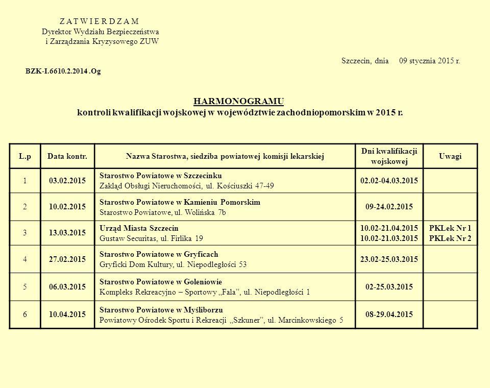 Z A T W I E R D Z A M Dyrektor Wydziału Bezpieczeństwa i Zarządzania Kryzysowego ZUW Szczecin, dnia 09 stycznia 2015 r. BZK-I.6610.2.2014.Og HARMONOGR