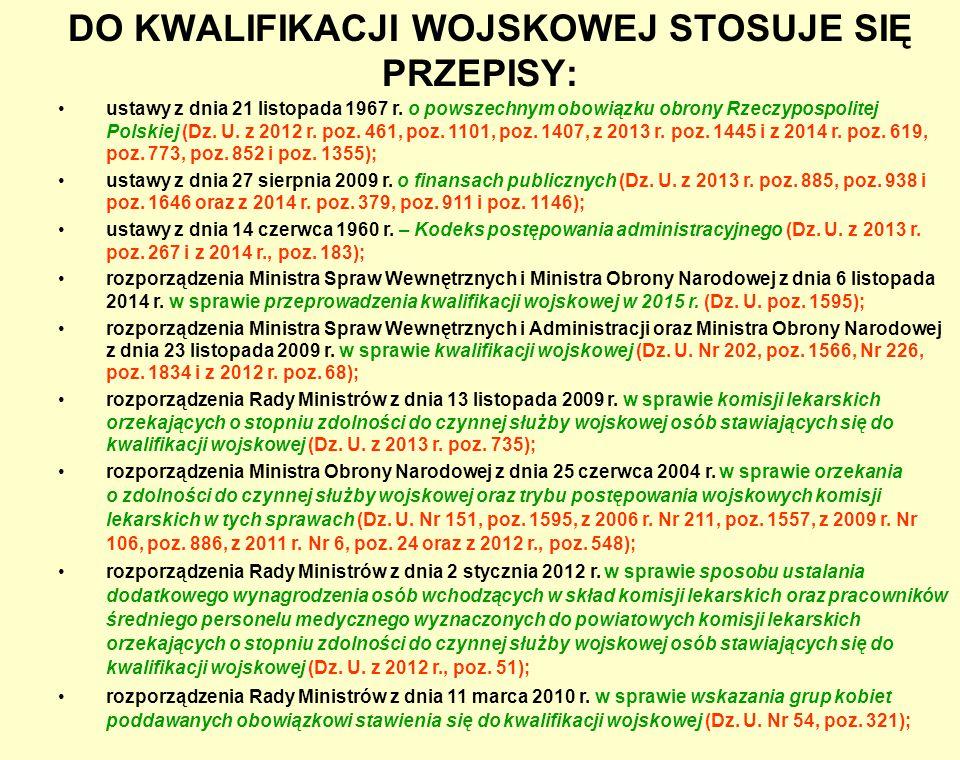 DO KWALIFIKACJI WOJSKOWEJ STOSUJE SIĘ PRZEPISY: ustawy z dnia 21 listopada 1967 r. o powszechnym obowiązku obrony Rzeczypospolitej Polskiej (Dz. U. z
