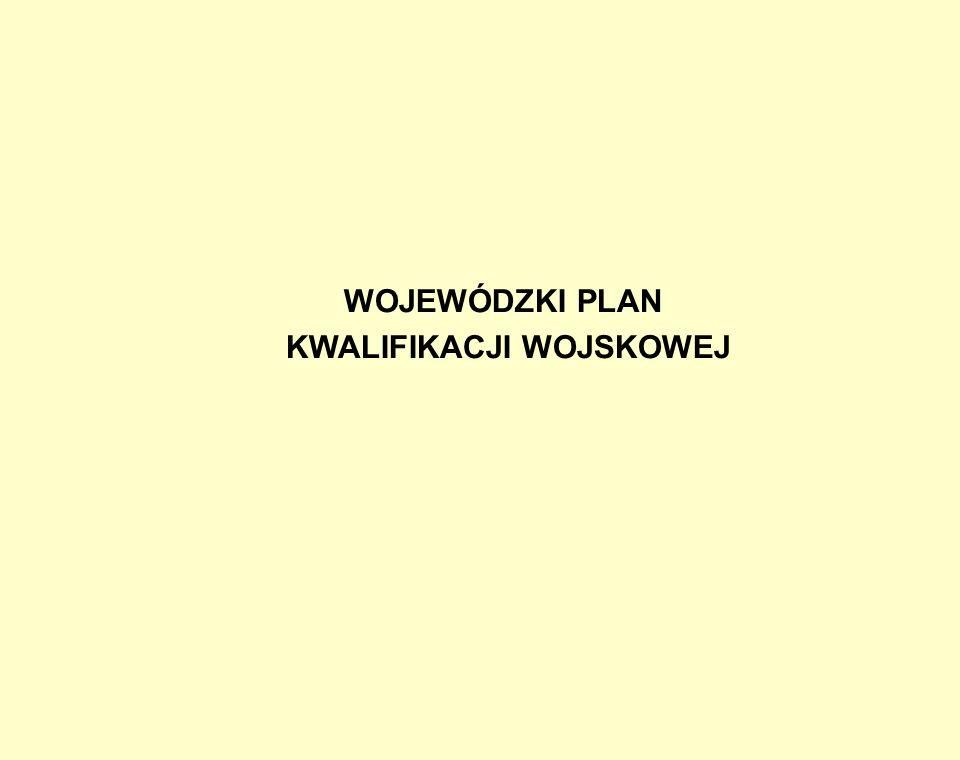 Kwalifikację przeprowadza się według wojewódzkiego planu kwalifikacji wojskowej, który obejmuje: Wojewódzki plan kwalifikacji wojskowej sporządza się na podstawie pisemnych wniosków wójtów oraz pisemnych wniosków WKU, przekazanych wojewodzie za pośrednictwem starostów.