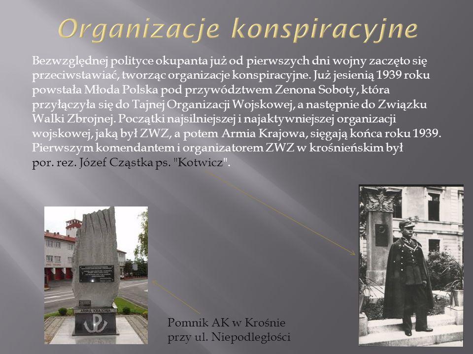 Bezwzględnej polityce okupanta już od pierwszych dni wojny zaczęto się przeciwstawiać, tworząc organizacje konspiracyjne. Już jesienią 1939 roku powst