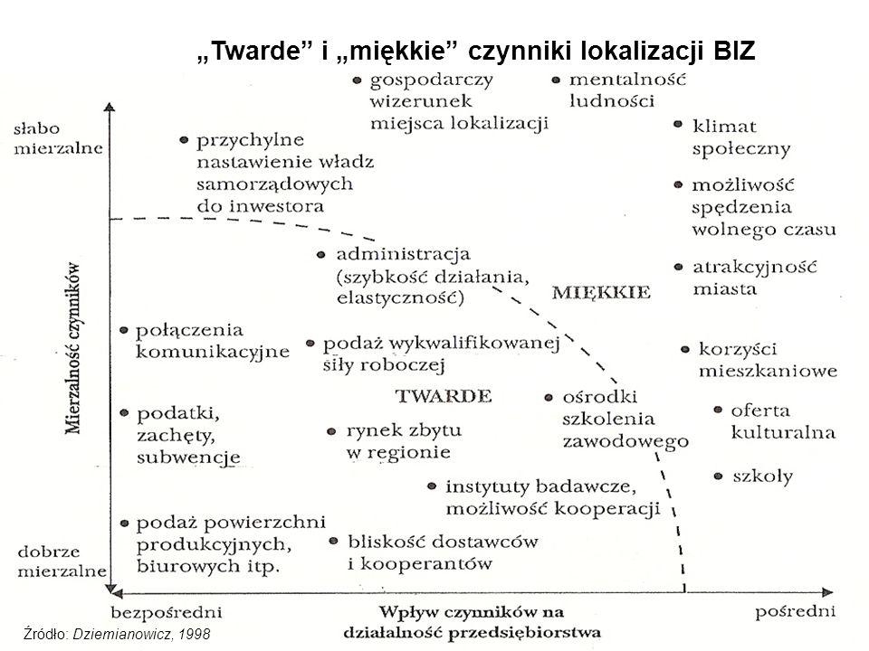 """""""Twarde"""" i """"miękkie"""" czynniki lokalizacji BIZ Źródło: Dziemianowicz, 1998"""