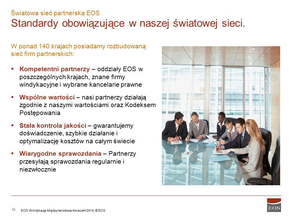 10 W ponad 140 krajach posiadamy rozbudowaną sieć firm partnerskich:  Kompetentni partnerzy – oddziały EOS w poszczególnych krajach, znane firmy windykacyjne i wybrane kancelarie prawne  Wspólne wartości – nasi partnerzy działają zgodnie z naszymi wartościami oraz Kodeksem Postępowania  Stała kontrola jakości – gwarantujemy doświadczenie, szybkie działanie i optymalizację kosztów na całym świecie  Wiarygodne sprawozdania – Partnerzy przesyłają sprawozdania regularnie i niezwłocznie Światowa sieć partnerska EOS Standardy obowiązujące w naszej światowej sieci.