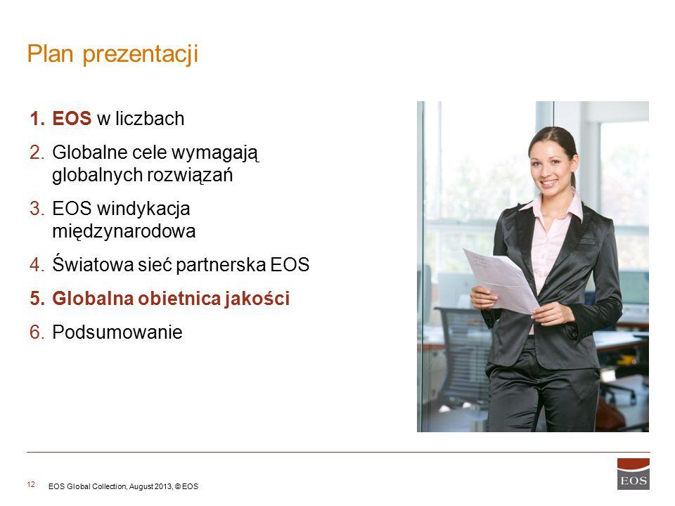12 1.EOS w liczbach 2.Globalne cele wymagają globalnych rozwiązań 3.EOS windykacja międzynarodowa 4.Światowa sieć partnerska EOS 5.Globalna obietnica