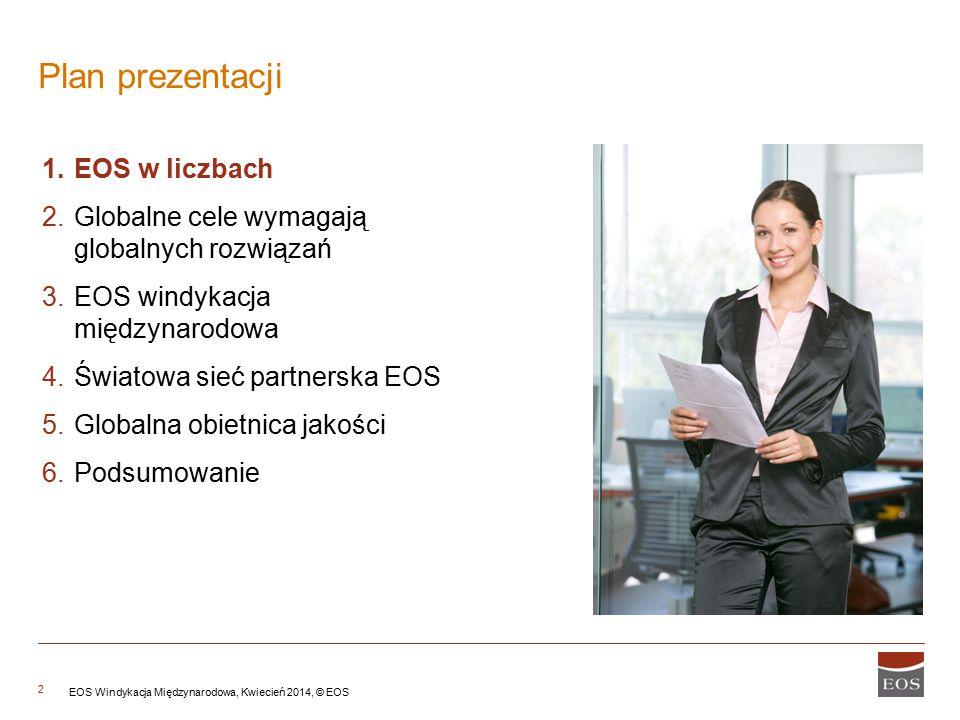2 Plan prezentacji 1.EOS w liczbach 2.Globalne cele wymagają globalnych rozwiązań 3.EOS windykacja międzynarodowa 4.Światowa sieć partnerska EOS 5.Glo