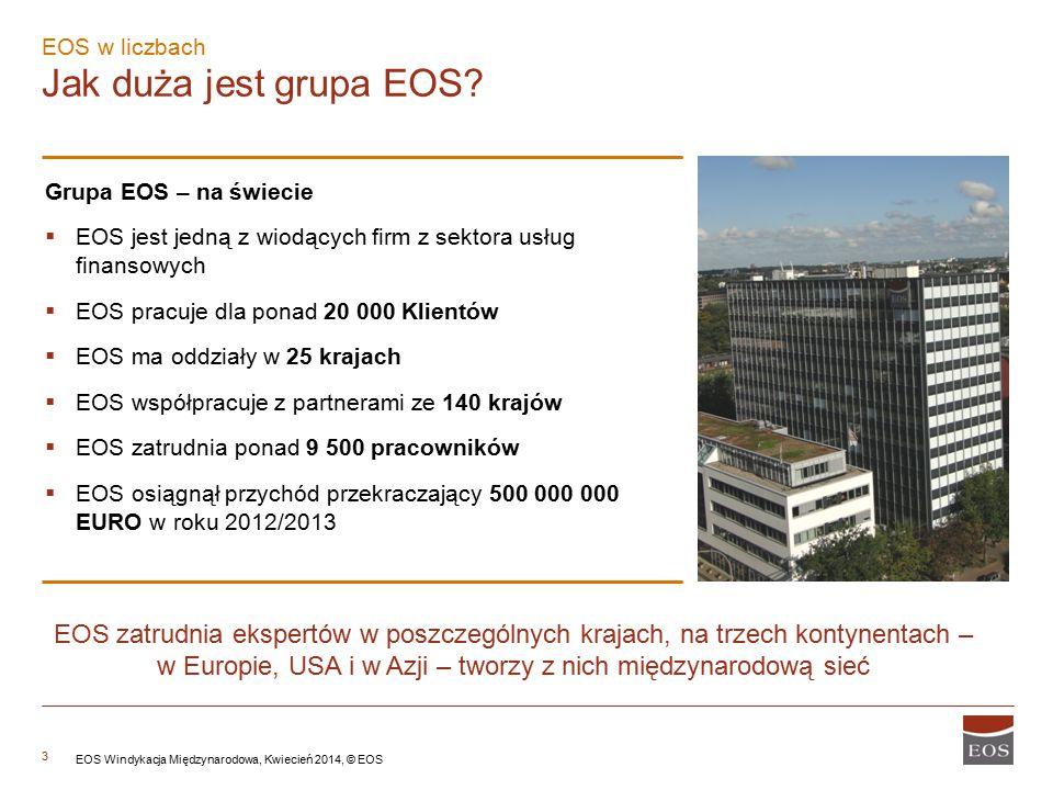 3 EOS w liczbach Jak duża jest grupa EOS? Grupa EOS – na świecie  EOS jest jedną z wiodących firm z sektora usług finansowych  EOS pracuje dla ponad