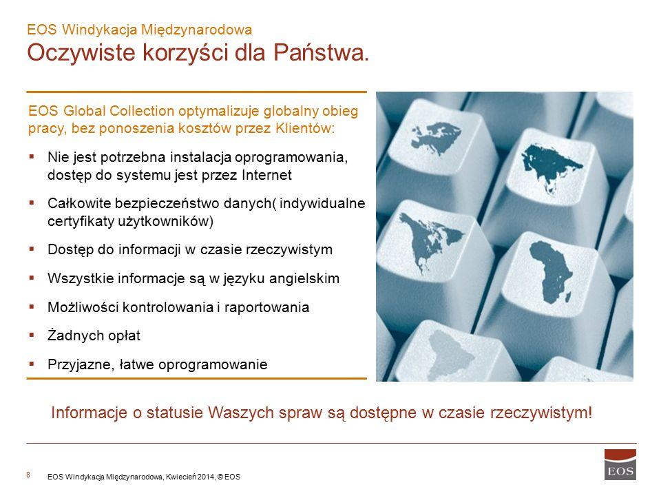8 EOS Windykacja Międzynarodowa Oczywiste korzyści dla Państwa. EOS Global Collection optymalizuje globalny obieg pracy, bez ponoszenia kosztów przez