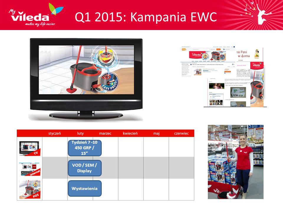 Q1 2015: Kampania EWC Tydzień 7 -10 450 GRP / 15 VOD / SEM / Display Wystawienia