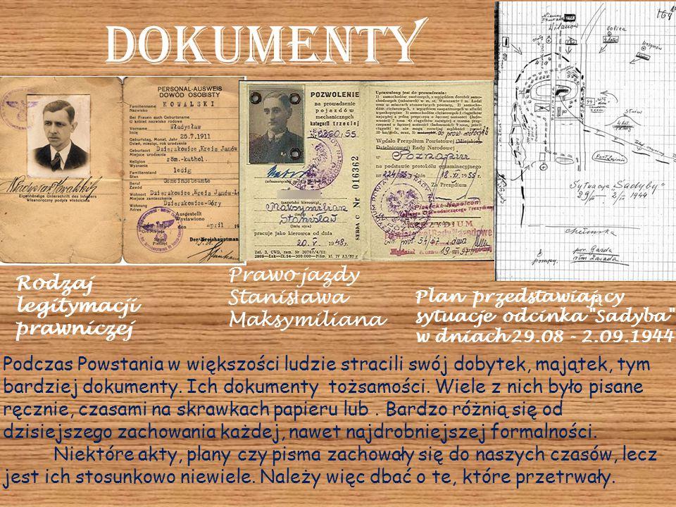 Dokumenty Podczas Powstania w większości ludzie stracili swój dobytek, majątek, tym bardziej dokumenty. Ich dokumenty tożsamości. Wiele z nich było pi