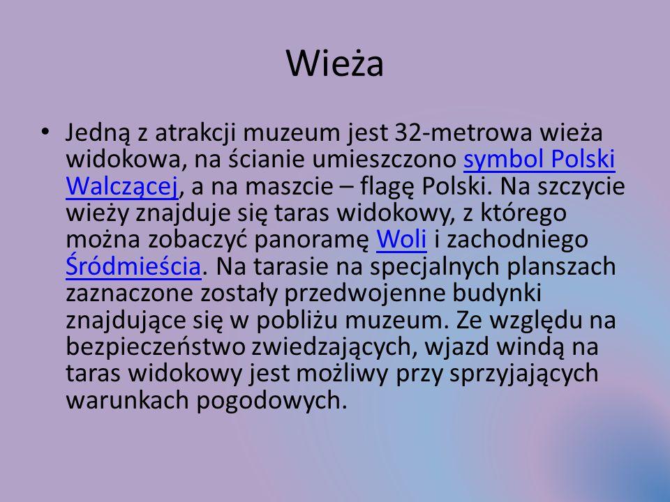 Wieża Jedną z atrakcji muzeum jest 32-metrowa wieża widokowa, na ścianie umieszczono symbol Polski Walczącej, a na maszcie – flagę Polski.