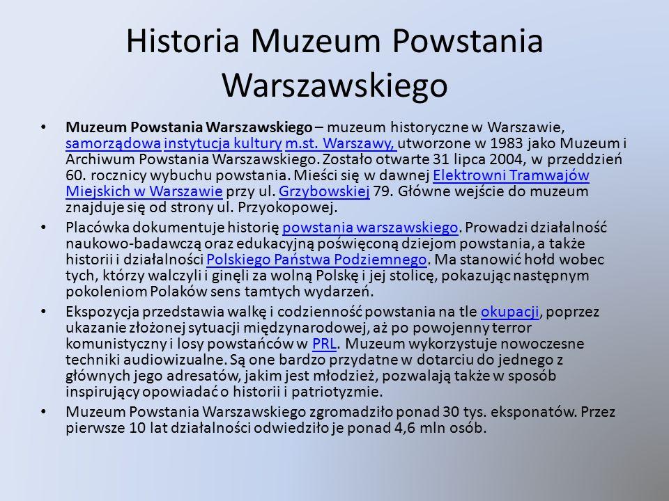 Historia Muzeum Powstania Warszawskiego Muzeum Powstania Warszawskiego – muzeum historyczne w Warszawie, samorządowa instytucja kultury m.st.