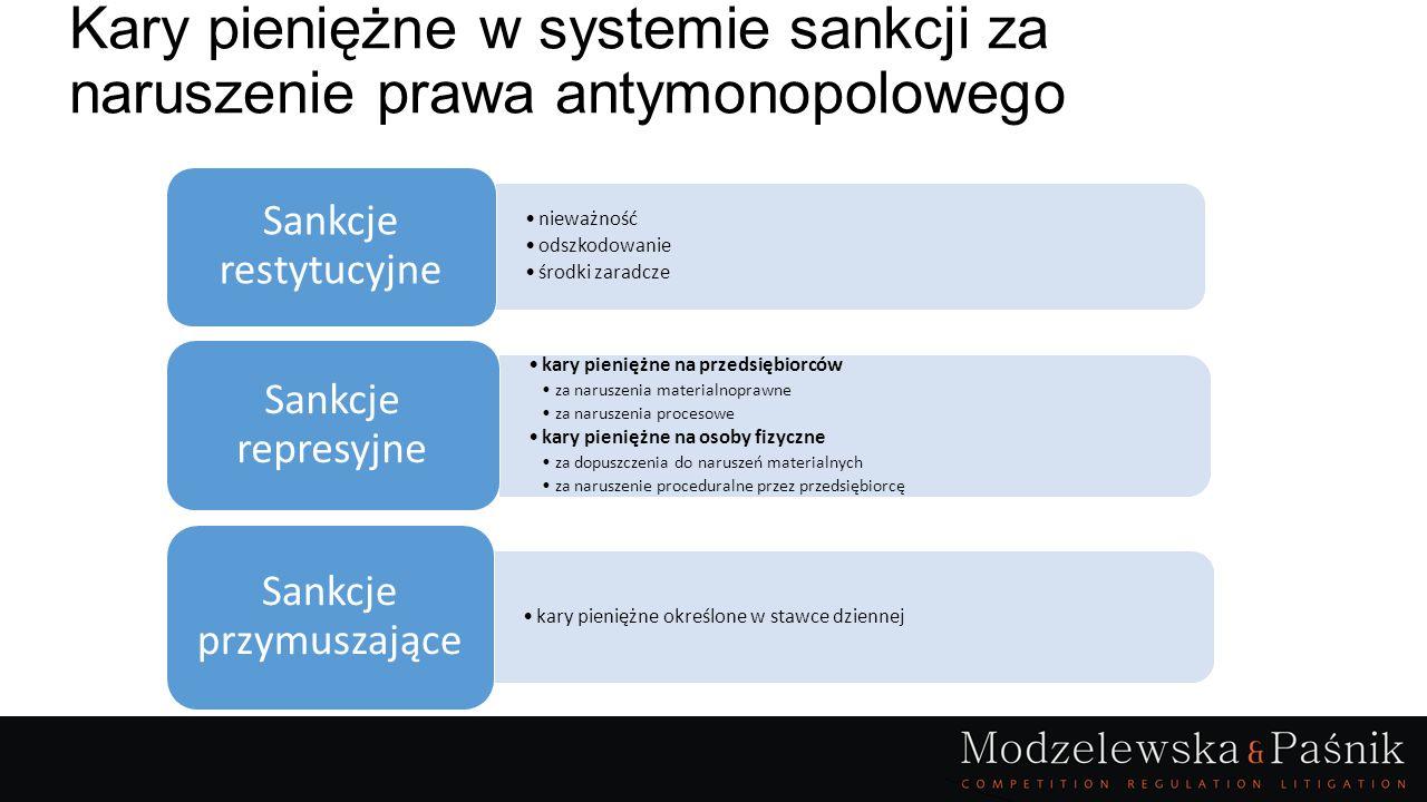 Kary pieniężne w ustawie o okik: sposób określenia wielokrotność stawki dziennej kary kwotowe: % obrotu w EUR wielokrotność przeciętnego wynagrodzenia w PLN