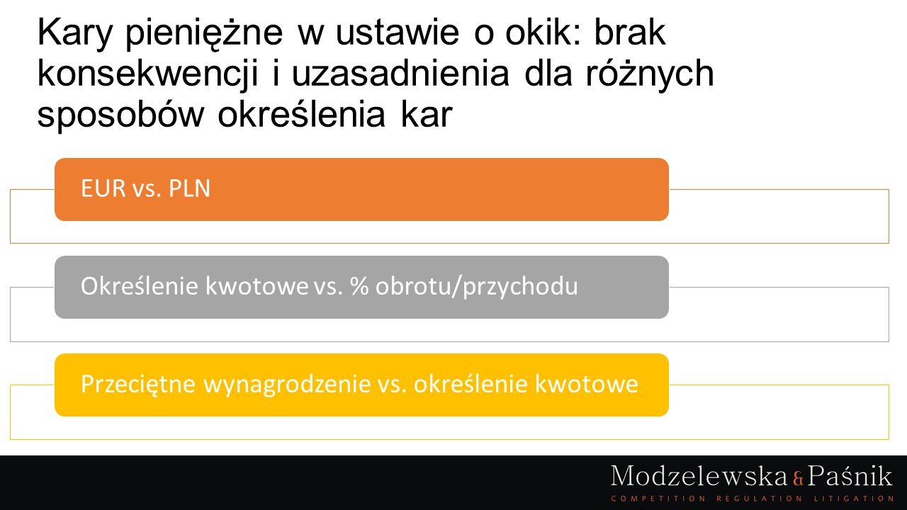 Kary pieniężne w ustawie o okik: brak konsekwencji i uzasadnienia dla różnych sposobów określenia kar EUR vs. PLNOkreślenie kwotowe vs. % obrotu/przyc