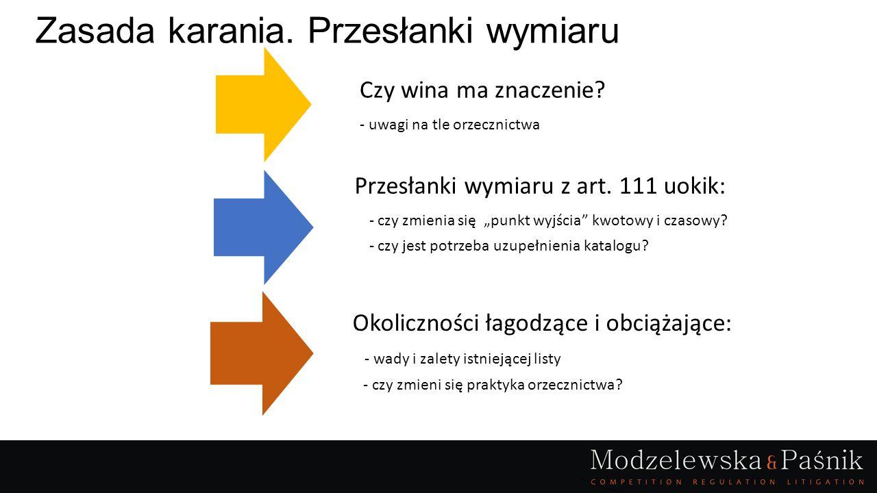 """Zasada karania. Przesłanki wymiaru Przesłanki wymiaru z art. 111 uokik: - czy zmienia się """"punkt wyjścia"""" kwotowy i czasowy? - czy jest potrzeba uzupe"""