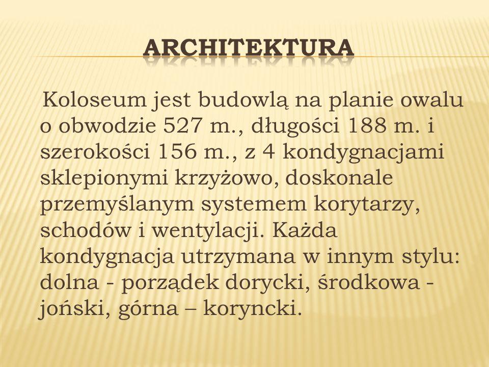 Koloseum jest budowlą na planie owalu o obwodzie 527 m., długości 188 m.
