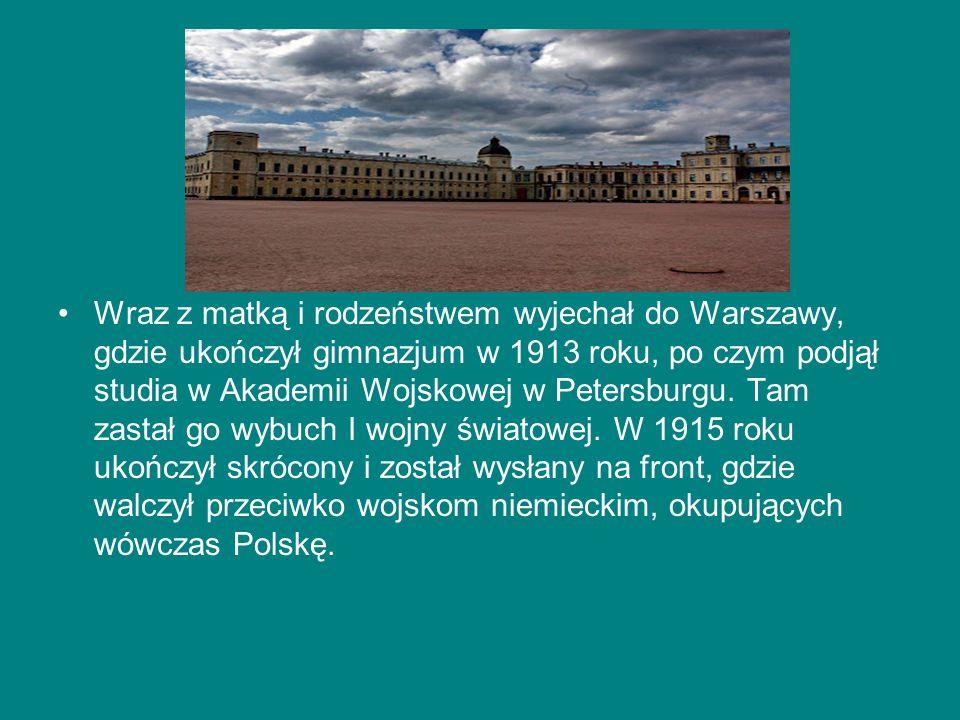 Wraz z matką i rodzeństwem wyjechał do Warszawy, gdzie ukończył gimnazjum w 1913 roku, po czym podjął studia w Akademii Wojskowej w Petersburgu. Tam z