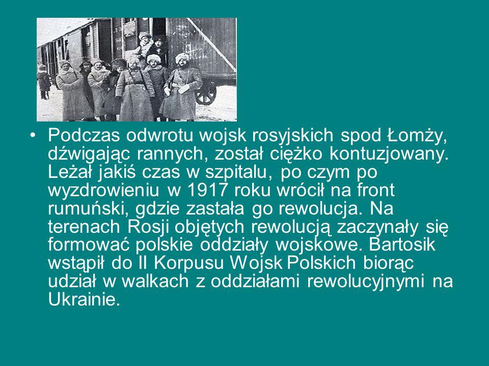 Podczas odwrotu wojsk rosyjskich spod Łomży, dźwigając rannych, został ciężko kontuzjowany. Leżał jakiś czas w szpitalu, po czym po wyzdrowieniu w 191