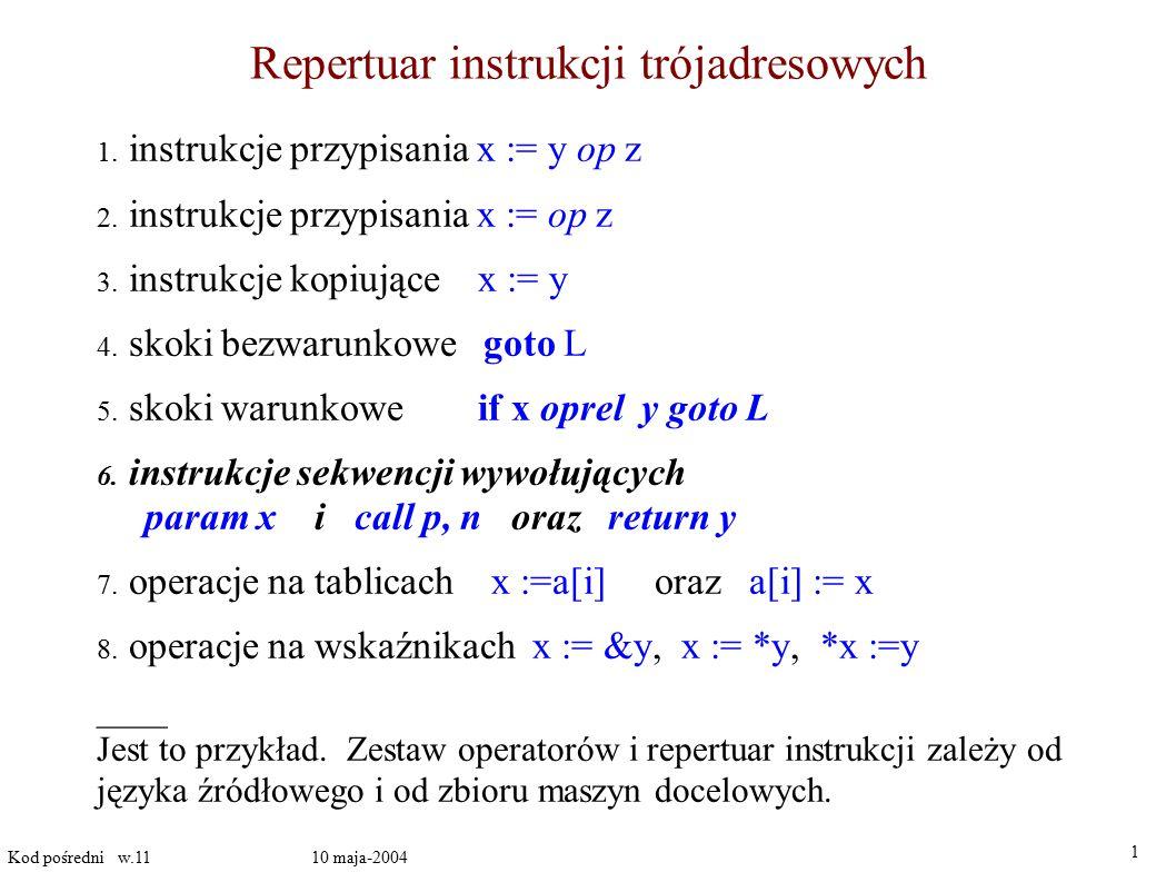 Wyrażenia logiczne realizowane przez skoki warunkowe 1 Kod pośredni w.11 10 maja-2004