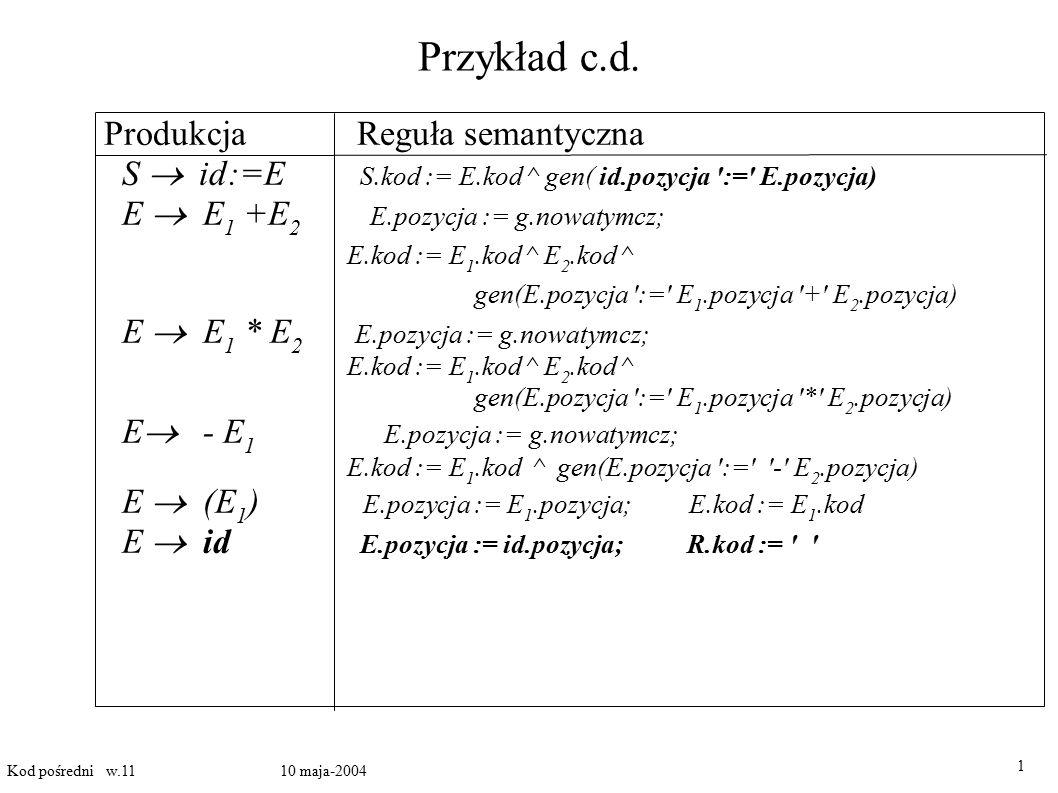 Tworzenie kodu dla wyrażeń logicznych I 1 Kod pośredni w.11 10 maja-2004 Dwie możliwości: A) obliczenia numeryczne wartości wyrażeń boolowskich, B) wykorzystanie skoków warunkowych A) wartością wyrażenia jest albo 1(true) albo 0(false) wyrażenie a or b and not c zostaje przetłumaczone na ciąg instrukcji t1 := not c t2 := b and t1 t3 := a or t2 Wartości atomowych wyrażeń boolowskich obliczamy przy pomocy skoków warunkowych [100] if a <b goto 103 [101] t := 0 [102] goto 104 [103] t := 1