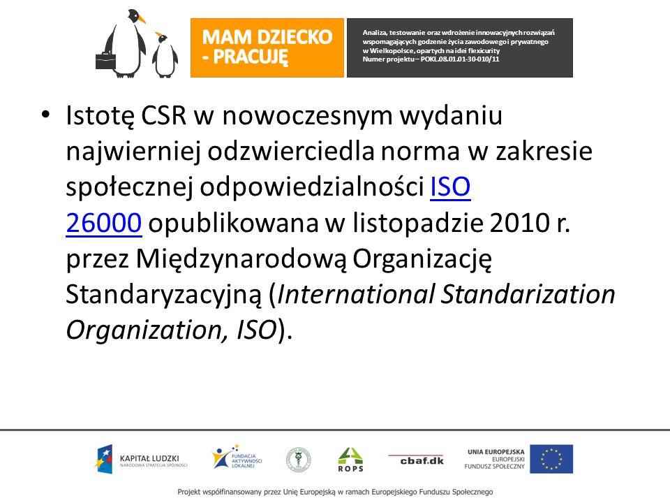 Analiza, testowanie oraz wdrożenie innowacyjnych rozwiązań wspomagających godzenie życia zawodowego i prywatnego w Wielkopolsce, opartych na idei flexicurity Numer projektu – POKL.08.01.01-30-010/11 Istotę CSR w nowoczesnym wydaniu najwierniej odzwierciedla norma w zakresie społecznej odpowiedzialności ISO 26000 opublikowana w listopadzie 2010 r.