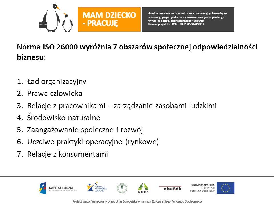 Analiza, testowanie oraz wdrożenie innowacyjnych rozwiązań wspomagających godzenie życia zawodowego i prywatnego w Wielkopolsce, opartych na idei flexicurity Numer projektu – POKL.08.01.01-30-010/11 Norma ISO 26000 wyróżnia 7 obszarów społecznej odpowiedzialności biznesu: 1.Ład organizacyjny 2.Prawa człowieka 3.Relacje z pracownikami – zarządzanie zasobami ludzkimi 4.Środowisko naturalne 5.Zaangażowanie społeczne i rozwój 6.Uczciwe praktyki operacyjne (rynkowe) 7.Relacje z konsumentami