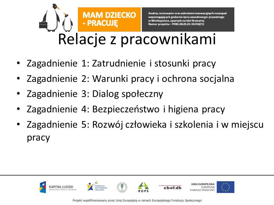 Analiza, testowanie oraz wdrożenie innowacyjnych rozwiązań wspomagających godzenie życia zawodowego i prywatnego w Wielkopolsce, opartych na idei flexicurity Numer projektu – POKL.08.01.01-30-010/11 Relacje z pracownikami Zagadnienie 1: Zatrudnienie i stosunki pracy Zagadnienie 2: Warunki pracy i ochrona socjalna Zagadnienie 3: Dialog społeczny Zagadnienie 4: Bezpieczeństwo i higiena pracy Zagadnienie 5: Rozwój człowieka i szkolenia i w miejscu pracy