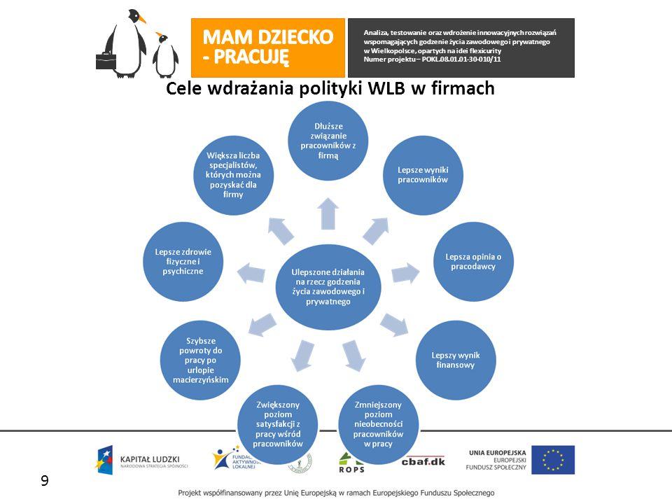 Analiza, testowanie oraz wdrożenie innowacyjnych rozwiązań wspomagających godzenie życia zawodowego i prywatnego w Wielkopolsce, opartych na idei flexicurity Numer projektu – POKL.08.01.01-30-010/11 Cele wdrażania polityki WLB w firmach 9