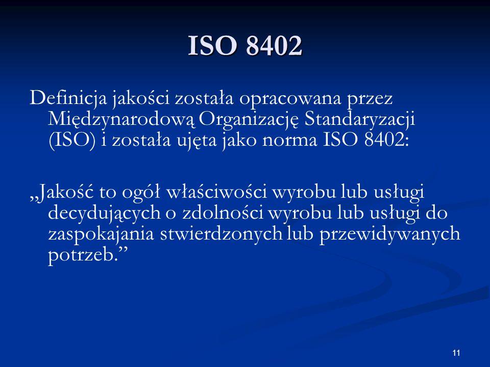 """11 ISO 8402 Definicja jakości została opracowana przez Międzynarodową Organizację Standaryzacji (ISO) i została ujęta jako norma ISO 8402: """"Jakość to ogół właściwości wyrobu lub usługi decydujących o zdolności wyrobu lub usługi do zaspokajania stwierdzonych lub przewidywanych potrzeb."""