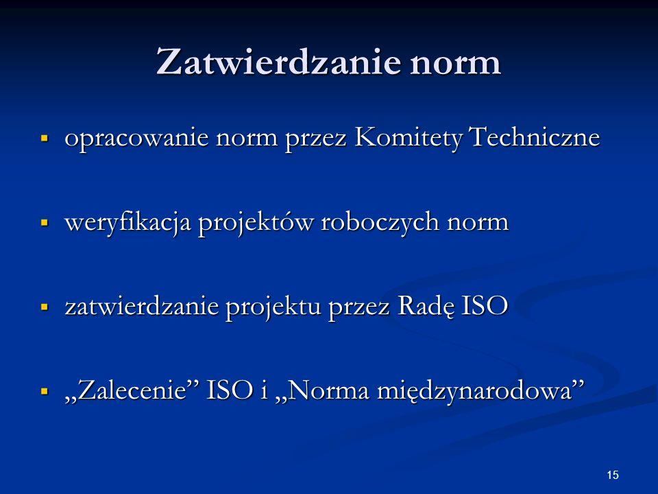"""15 Zatwierdzanie norm  opracowanie norm przez Komitety Techniczne  weryfikacja projektów roboczych norm  zatwierdzanie projektu przez Radę ISO  """"Zalecenie ISO i """"Norma międzynarodowa"""