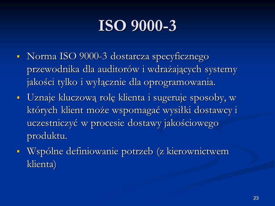 23 ISO 9000-3  Norma ISO 9000-3 dostarcza specyficznego przewodnika dla auditorów i wdrażających systemy jakości tylko i wyłącznie dla oprogramowania.