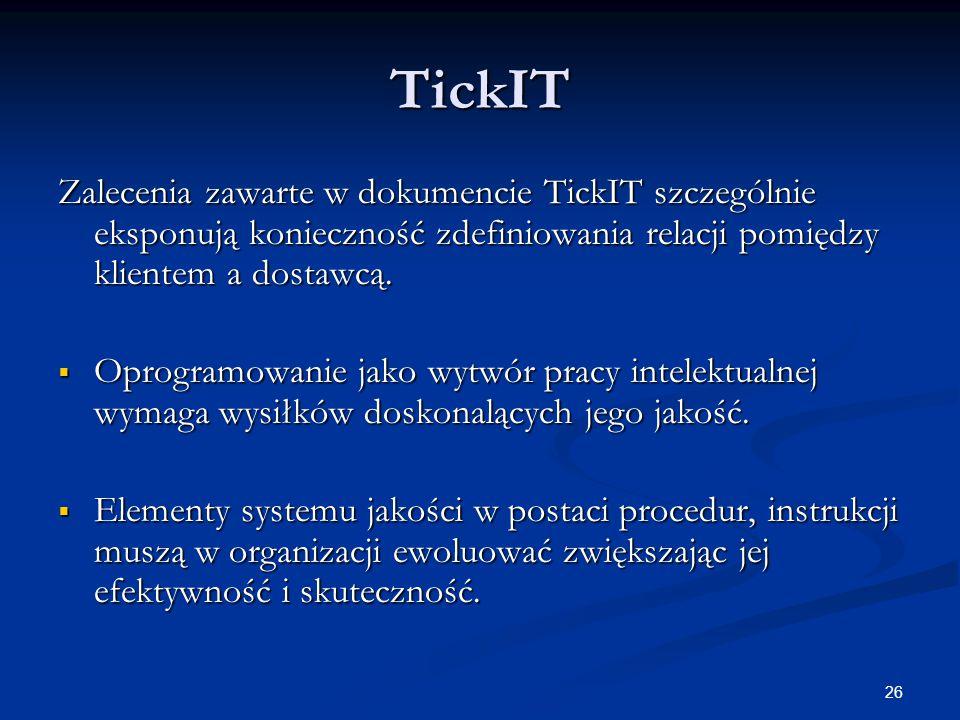 26 TickIT Zalecenia zawarte w dokumencie TickIT szczególnie eksponują konieczność zdefiniowania relacji pomiędzy klientem a dostawcą.