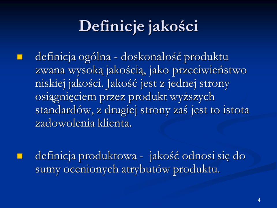 4 Definicje jakości definicja ogólna - doskonałość produktu zwana wysoką jakością, jako przeciwieństwo niskiej jakości.
