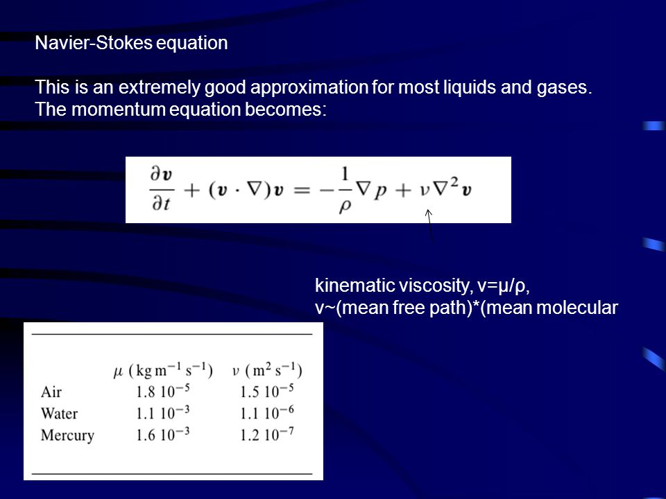 Navier-Stokes equation This is an extremely good approximation for most liquids and gases.